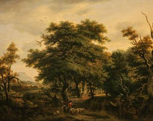 Alexander Nasmyth - Woody Landscape With Figures And Sheep