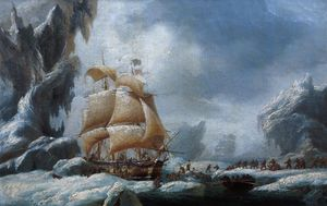 Ambroise Louis Garneray - He Ship Of Jules Dumont D'urville Stuck In An Ice Floe In Antarctica