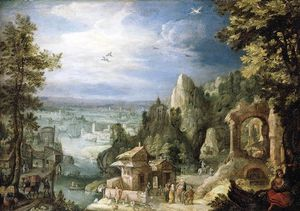 Anthonie Mirou - Extensive Landscape With The Rest On The Flight Into Egypt