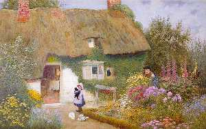 Arthur Claude Strachan - Girl And Kitten Before Cottage