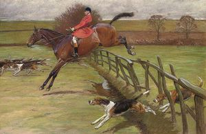 Beatrice Parsons - The Master Of The Hunt, Edward Preston Rawnsley, Clearing A Fence
