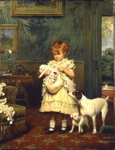 Charles Burton Barber - Girl With Dogs -