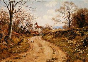 Edward Wilkins Waite - At A Turn In The Lane