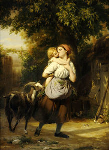 Fritz Zuber Buhler - A Mother And Child With A Goat On A Path