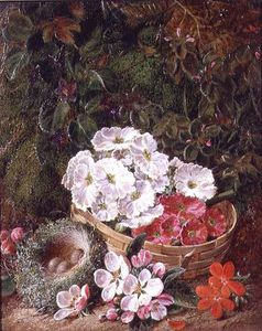 George Clare - Still Life Of Apple Blossom And Violets With Primulas In Wicker Basket