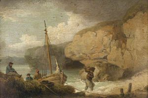 George Morland - Fishermen Unloading A Boat In A Rocky Inlet