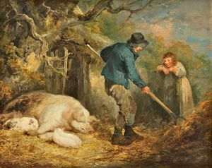 George Morland - The Piggery