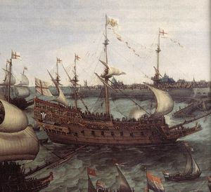 Hendrick Cornelisz Vroom - The Arrival At Vlissingen Of The Elector Palatinate Frederick V (detail)
