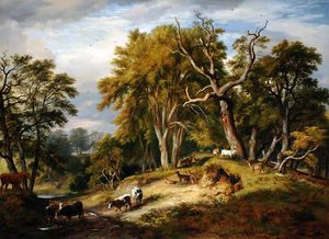 Ramsay Richard Reinagle - Cattle And Deer In Calke Park