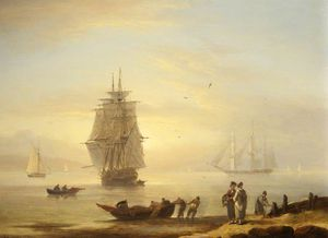 Thomas Luny - Men-o'-war And Figures On The Shore At Teignmouth