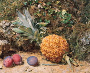 William Henry Hunt - Still Life With A Pineapple And Three Plums