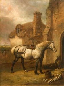 Abraham Cooper - A Grey Horse At A Stable Door