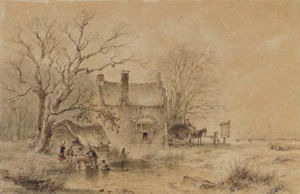 Andreas Schelfhout - A Winter Landscape With Figures By A Frozen Pond, A Village In The Distance