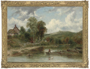 Frederick Waters (William) Watts - Wooded Landscape With Figures In A Boat, Cottages Beyond