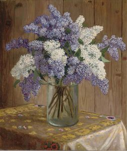 Nikolai Petrovich Bogdanov Belsky - Purple And White Lilacs In A Glass Vase