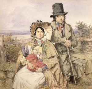Octavius Oakley - A Family Seated At A Roadside