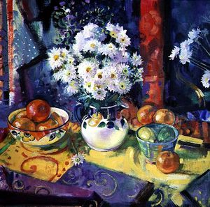 Peter Graham Ii - Flowers And Fruit In A Green Bowl