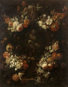 Pieter The Younger Holsteyn - Apollo The Kithara Player Framed With A Garland Of Flowers