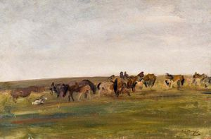 Alfred James Munnings - Exmoor Ponies -