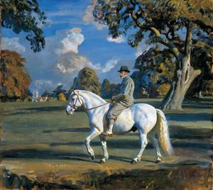 Alfred James Munnings - King George V Riding His Favourite Pony 'jock' In Sandringham Great Park