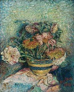 David Davidovich Burliuk - Flowers In A Yellowware Bowl