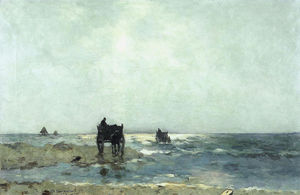 Jan Weissenbruch - Shellfishers At The Dutch Beach