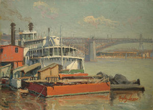Richard Hayley Lever - Paddle Steamer Mark Twain, Mississippi River Eads Bridge At St. Louis