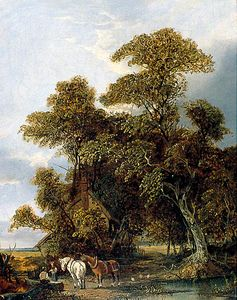 John Paul - Cottage Landscape With Figures And Horses By A Pond