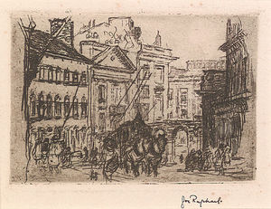 Joseph Raphael - Street In Brussels With Carriage