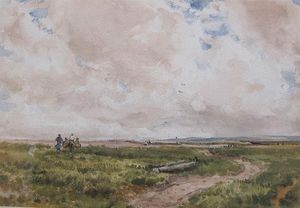 Thomas Collier - An Extensive Moorland Landscape With Figures Near A Track
