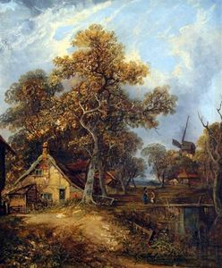 John Paul - Figures And Cottages In Wooded Landscape