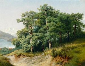 Robert Zund - Group Of Oaks At The Lakeside
