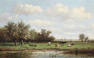 Anthonie Jacobus Van Wijngaerdt - Cattle In A Summer Polder Landscape