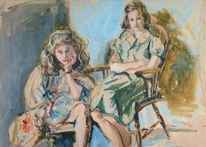 Arthur Henry Church - Portrait Study Of Two Girls