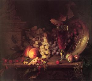 Blaise Alexandre Desgoffe - Still Life With Fruit, A Glass Of Wine And A Bronze Vessel On A Ledge