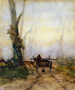 Johan Hendrik Weissenbruch - Man On A Cart In The Wood