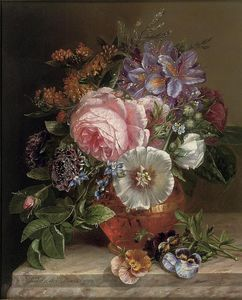 Margaretha Roosenboom - Bouquet Of Summer Flowers On A Marble Edge
