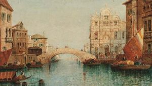 William Meadows - Vessels On A Venetian Canal By A Bridge
