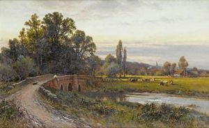 Alfred I Glendening - A View Of Houghton Bridge Looking Towards Bury, West Sussex