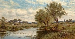 Alfred I Glendening - River Landscape With Haymakers