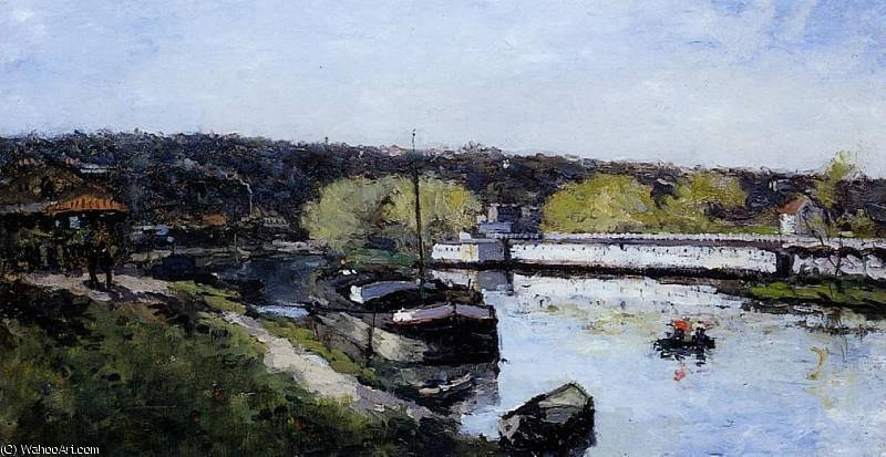 famous painting Barge on the Seine at Basd Meudon of Albert-Charles Lebourg (Albert-Marie Lebourg)