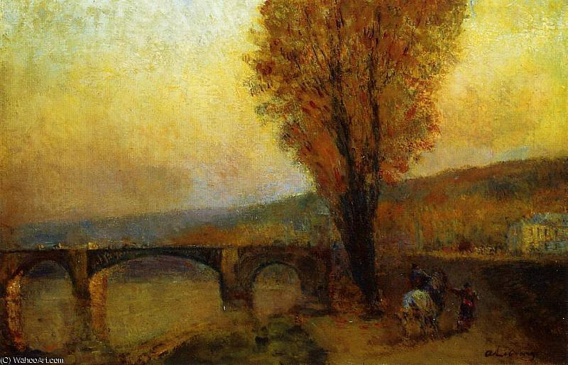 famous painting Bridge and Rider of Albert-Charles Lebourg (Albert-Marie Lebourg)