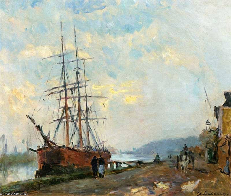 famous painting Dieppedalle Three Master at Quay of Albert Charles Lebourg