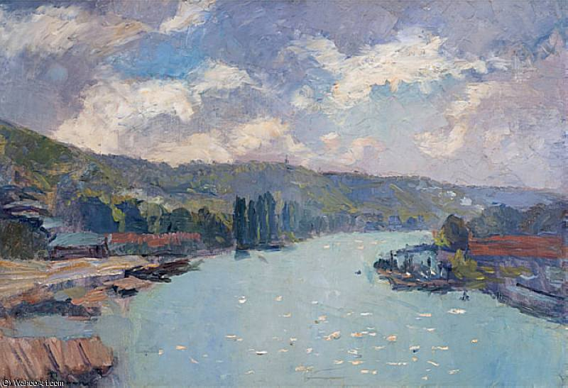 famous painting La Seine a Rouen of Albert-Charles Lebourg (Albert-Marie Lebourg)