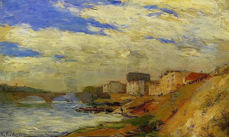 famous painting Le Pont de Neuilly a Courbevoie of Albert-Charles Lebourg (Albert-Marie Lebourg)