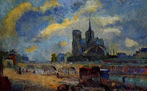 Albert-Charles Lebourg (Albert-Marie Lebourg) - Notre Dame de Paris and the Bridge of the Archeveche