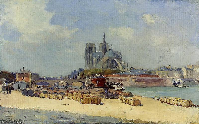 famous painting notre dame paris of Albert Charles Lebourg