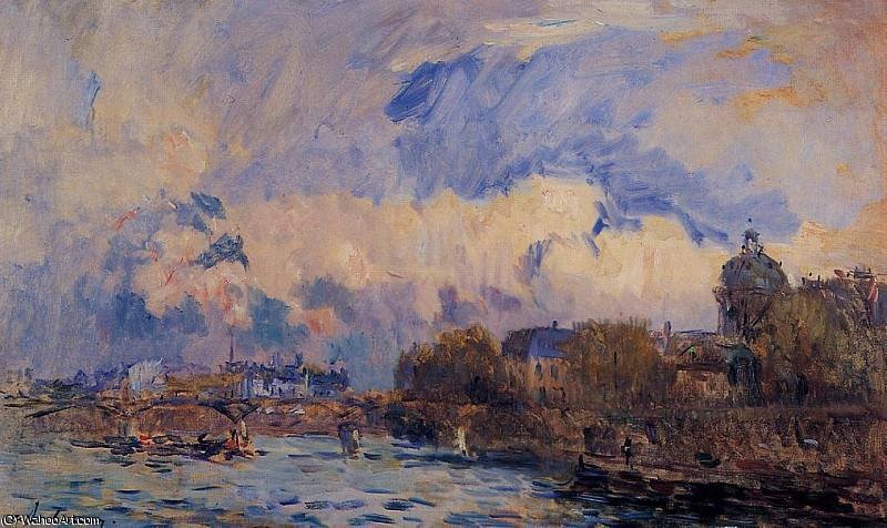 famous painting Paris the Seine at Pont des Arts and the Institute of Albert-Charles Lebourg (Albert-Marie Lebourg)