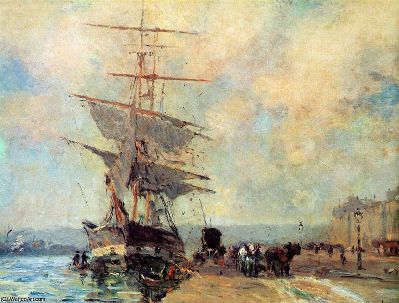 famous painting Ship in harbour Rouen Sun of Albert-Charles Lebourg (Albert-Marie Lebourg)