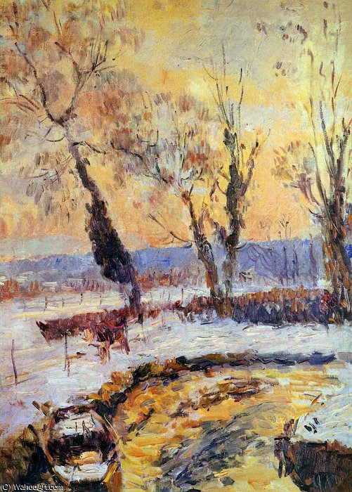 famous painting Snow at sunset Sun of Albert-Charles Lebourg (Albert-Marie Lebourg)